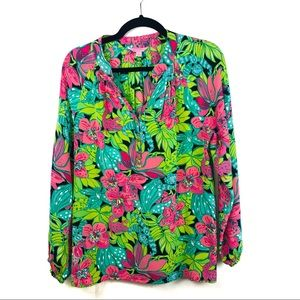 LILLY PULITZER SKIP ON IT FROGS ELSA SILK BLOUSE